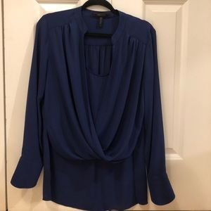 BCBGMAXAZRIA Jacklyn Drape Front Blouse blue
